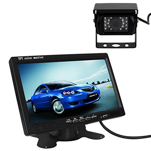 Pathson 7 Pouces TFT LCD Moniteur + Caméra de Recul Étanche Nocturne 18 IR Lampes 120°Vue Couleur Arrière de Voiture Kit