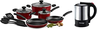 Prestige 12Pc Cookware Set + Prestige S/S Electric Kettle 1.7Ltr, PR81682, Red