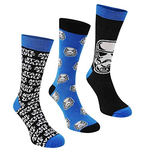 3x Paar Herren oder Jungen Socken Offizieller Disney Star Wars EP7 Charakter, Socken/UK 6–11, EUR 39–45 Gr. 7-11 UK/41-45 EU, blau / schwarz