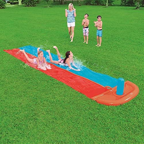 Scivolo Acqua Giardino, Doppio 5,5m Scivolo di velocità Acqua All'aperto Scivolo Spruzzi Estate Scivolo Acqua da Giardino per Bambini