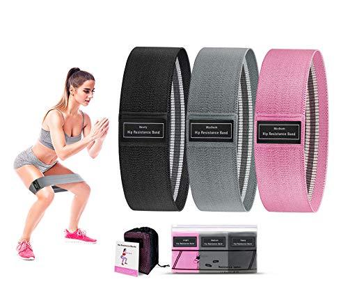 KQIANQUE fasce di resistenza per gambe e culo – Set di fasce elastiche antiscivolo per esercizi elastici, per yoga, confezione da 3 (nero, rosa, grigio)