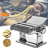 HONGRU Máquina de pasta manual de acero inoxidable, máquina de pasta con cortador de masa 2 en 1 y 6 ajustes de grosor ajustables para pasta casera, espaguetis, fettuccini, mejor regalo de cocina