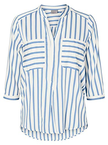 VERO MODA Damen VMERIKA Stripe 3/4 Shirt TOP E10 NOOS Bluse, Snow White (Stripes:Placid Blue), XL