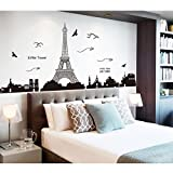 Pegatina de pared vinilo adhesivo decorativo para cuartos, dormitorio,cocina,... Vista de paris torre eiffel color negro open buy