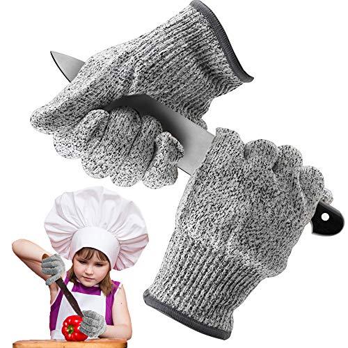 Schnittschutz Handschuhe,Schnittsichere Handschuhe für Kinder,Leistungsfähiger Level 5 Schutz,Schnittsichere Handschuhe zum Kochen,Schnitzen und Gärtnern(XXS)