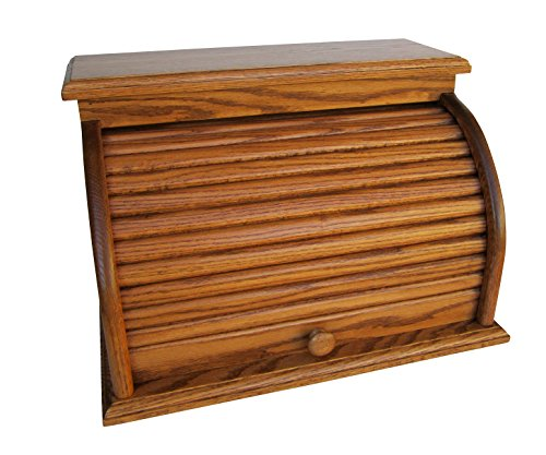 Amish Valley Products Roll Top Bread Box Amish Handcrafted Storage Solid Wood Bin Wooden (Chestnut)