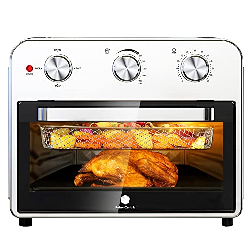 Relax-Centric Air Fryer Toaster Oven 21 Quart Large Convection Toaster Oven Countertop Stainless Steel Finish