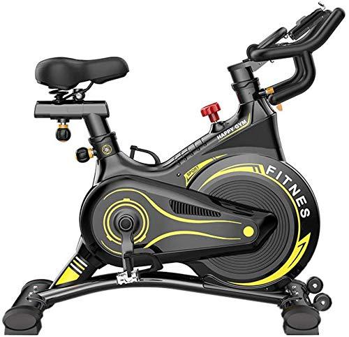Hometrainer, spinfiets met vliegwielgordel, tablethouder, smartphonehouder en comfortabel zadel (kleur: zwart)