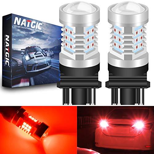NATGIC 3157 3157CK 4157 3156 LED Red 21 - EX 2835 SMD Jeu de puces avec lentille de Projection pour Feux de Marche arrière à Blocage de freinage, 10-16V 10,5W (Pack de 2)