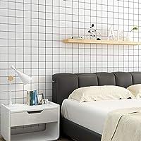 ステッカー、壁紙、レンタル用壁紙の貼り付けが簡単再生紙リフォームウォールステッカー自己接着壁紙ウォールステッカー壁紙防水グレーステッカー-特別オファー黒と白のグリッド_60cm * 3m