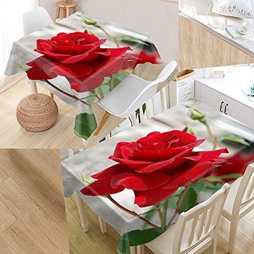XXDD Mantel Personalizado con Flores y Rosas, Estampado Oxford, Rectangular, Impermeable, a Prueba de Aceite, Mantel Cuadrado para Boda A9, 140x200cm