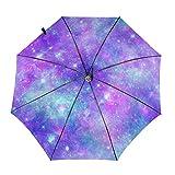 DXZ-Design Paraguas plegable compacto de viaje para sol, lluvia, resistente al viento, para hombre y mujer, bonito color morado y verde azulado Galaxy Universo impresión hermoso