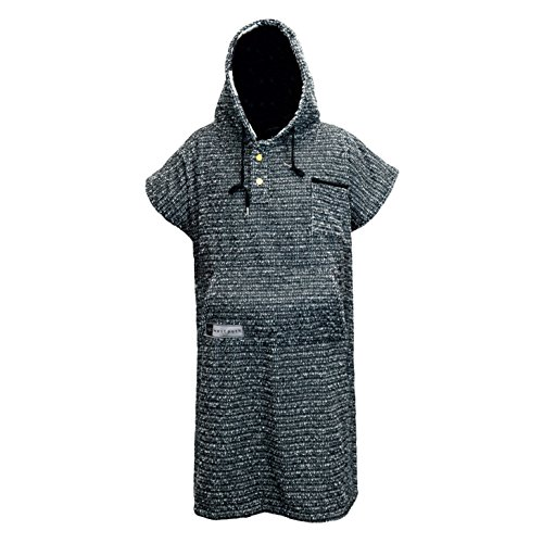 Open Road Goods Surf Poncho/Adult Hooded Towel/Changing Towel/Wetsuit Changing Robe/Swim Parka - Changing Poncho Charcoal Black/Indigo Blue; Saves a Sea Turtles Life - Black