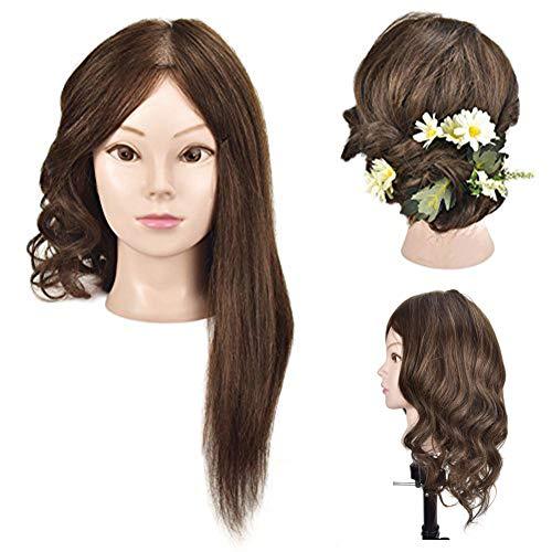 Poupette per la pratica dei parrucchieri, 100% capelli naturali, da 45 cm, con morsetto