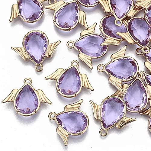 Cheriswelry Colgantes de cristal facetado, ángulo con alas colgantes de cristal de diamantes de imitación, marco de carne para joyas, collares, pulseras
