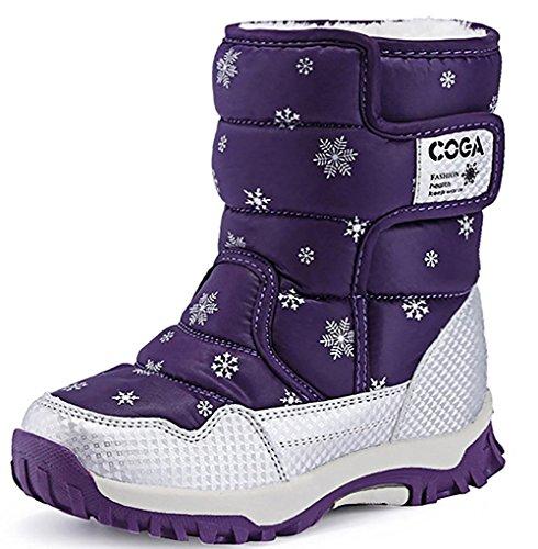 [メテオ] スノーブーツ キッズ 雪用 ブーツ 女の子 男の子 長靴 冬 防寒 防水ブーツ A9905 パープル 27