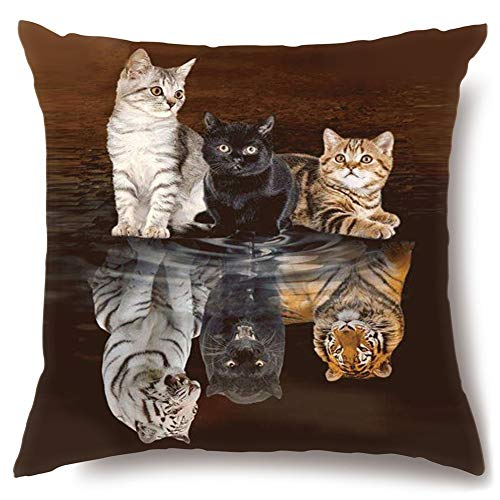Artscope Cushion Covers, High Grade Polyester Microfiber Decorative 18 x 18 Inch Squar Pillow Covers Pillowcases for Sofa Car 45 x 45 cm (Three Cats)