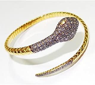 Rose Cut Diamond Antique Silver Bracelet - Snake Style Indian Traditional Bracelet - Victorian Inspired Wedding Silver Bracelet
