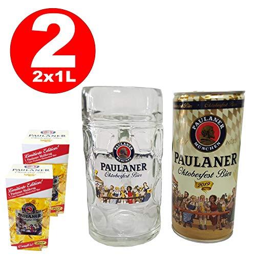 2 x Paulaner Oktoberfestbier Set mit Maßkrug und 1 L Dose Bier 6,0% vol.alc.