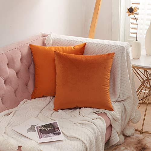 Volcanics Velvet Cushion Covers Pack of 2 Decorative Square Throw Pillow Covers Cushion Soft Pillowcase 45 x 45cm(18 x 18 Inches) for Home decor Sofa Living room,Orange