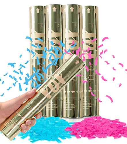 Revealations Gender Reveal Confetti Cannon - Set of 4 (2 Pink, 2 Blue) Gender Reveal Party Supplies Air Compressed Confetti Poppers - Biodegradable Tissue for Party Celebrations
