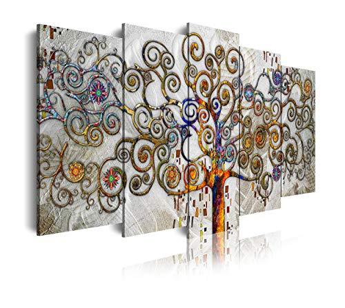 DekoArte 478 - Cuadros Modernos Impresión de Imagen Artística Digitalizada | Lienzo Decorativo para Salón o Dormitorio | Estilo Abstractos Árbol de la Vida Gustav Klimt Plata | 5 Piezas 200x100cm XXL