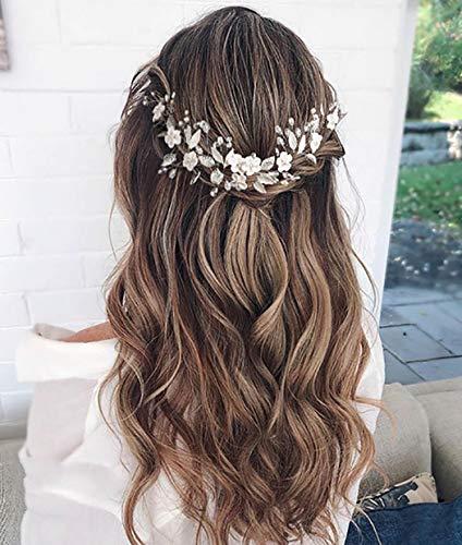 Unicra Braut Hochzeit Stirnband Kristall Haar Rebe Blume Zopf Kopfschmuck Braut Haarschmuck für Frauen
