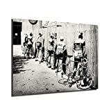 HHGaoArt Black And White Bicycle Cyclist Bike Vintage Photo Poster Men Peeing Pissing Road Cycling...