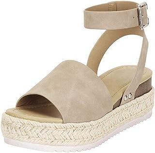 6e9fe0df Sandalias Mujer Verano 2019 cáñamo Fondo Grueso Sandalias Punta Abierta  Cuero Fondo Plano Zapatos Bohemias Romanas
