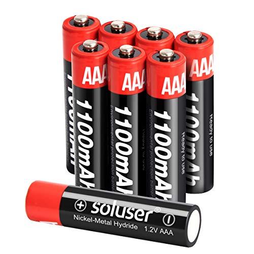 AAA Rechargeable Batteries, Rechargeable AAA Batteries1100mAh High-Capacity AAA Batteries 1.2V Ni-MH Low Self Discharge (AAA-8Pack)