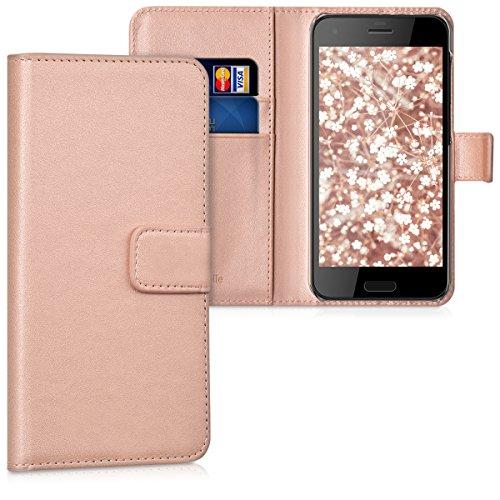 kwmobile HTC One A9s Hülle - Kunstleder Wallet Case für HTC One A9s mit Kartenfächern & Stand - Rosegold