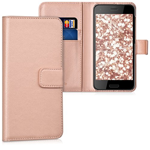 kwmobile Hülle kompatibel mit HTC One A9s - Kunstleder Wallet Hülle mit Kartenfächern Stand in Rosegold