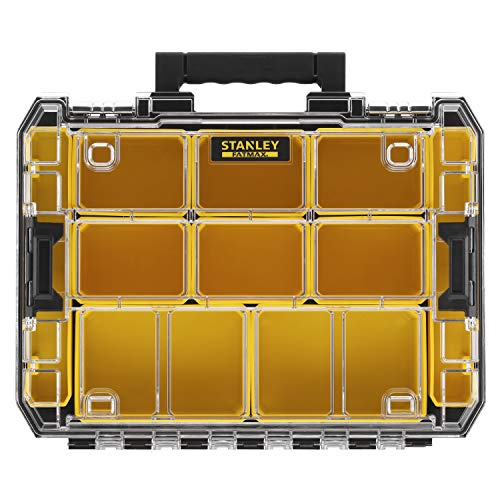 Stanley FMST82967-1 FatMax Organizer (stapelbare gereedschapskist, met transparant deksel, met 10 sorteerinzetstukken van verschillende afmetingen, combineerbaar met andere Tstak-dozen)