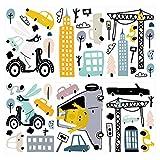 dekodino® Wandtattoo Tiere und Fahrzeuge Wandsticker Set Dekoration Kinder