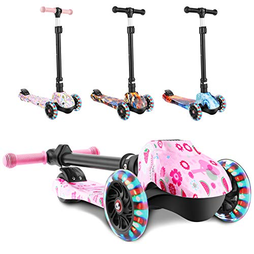 WeSkate Scooter for Kids, Foldable Scooter for Toddlers Girls & Boys with LED Lights Up Scooters Wheels, Adjustable Height Scooter for Children Age 3-12