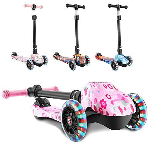 WeSkate Patinete Infantil de 3 Ruedas con Luz para Niñas y Niños, Patinete Plegable Ajustable en Altura, Carga Máxima de 50 kg(Rosa, patrón de Fresa)