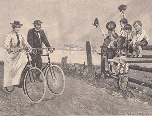 Radfahren/Radsport - All Heil! Junges Paar mit Fahrrädern auf der Uferstraße wird von Knaben gegrüßt. [Grafik]