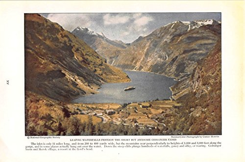 Print Ad 1930 Leaping Waterfalls Festoon The Short But Awesome Geiranger Fjord