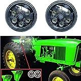 LED Tractor Lights Round Lantsun Flood Light CREE LED Work Light 12V for John Deere Tractor 4430 3010 Offroad 4x4, 4WD etc(2Pcs) 6218