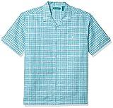 Cubavera Men's One Pocket Windowpane Camp Collar Shirt, Maui Blue, Large