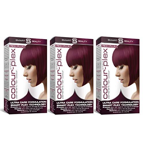 Smart Beauty Permanent Haarfärbemittel, Lang Anhaltendes Fashion Farbe mit Pflegend Nio-Active Plex Haarbehandlung, 150 ML Packung X 3 Save 20{43028f3e23f571a3c663ba6f318d00356fed97010982d1c20697f2e34cfbf555} - Reich Plum
