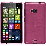 PhoneNatic Hülle kompatibel mit Microsoft Lumia 535 - pink Silikon Hülle Brushed + 2 Schutzfolien