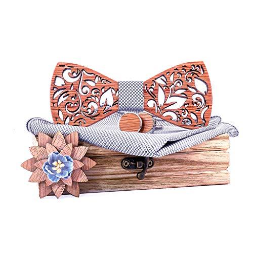 HINK Juego de pañuelo de Pajarita de Madera Manual para Hombre Pajarita de Madera Hueco Tallado y Caja Ropa Zapatos y Accesorios Corbata