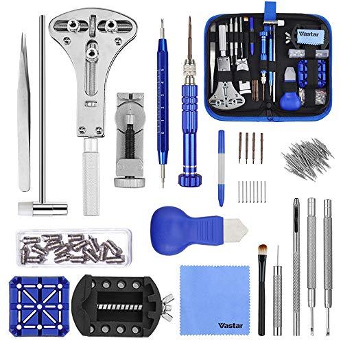 Vastar 177pcs Kit de Reparación de Relojes - Herramientas de Reparación Profesionales...