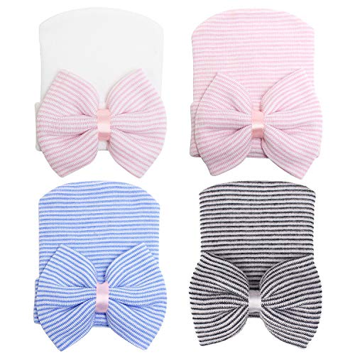 Zando Baby Girls Newborn Hospital Hat Baby Headwraps Cute Big Bows Infant Nursery Caps B Pink Bow & Black White & Blue & Pink One Size