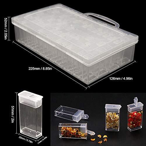 Blusea sorteerdoos, 64 sleuven classificatie juwelendoos acryl opbergdoos transparant plastic afneembare compartiment sorteerdoos DIY ambachtelijke gereedschappen