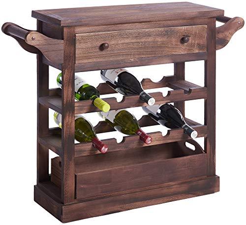 ts-ideen Weinregal für 10 Flaschen mit Schublade Flaschenregal braun Holz Shabby