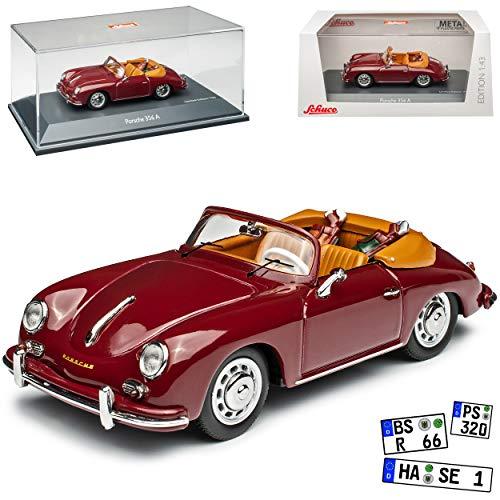 Porsche 356A Cabrio Rot Braun mit Golftaschen 1955-1959 limitiert 750 Stück 1/43 Schuco Modell Auto