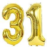 2 Ballons Numero 31 Or, Ouceanwin Géant Ballon Chiffre 31 Numero Ballons Feuille 40 Pouces Helium Ballons Gonflable pour 31 Ans Anniversaire Décorations de Fête Femme Homme (100cm)