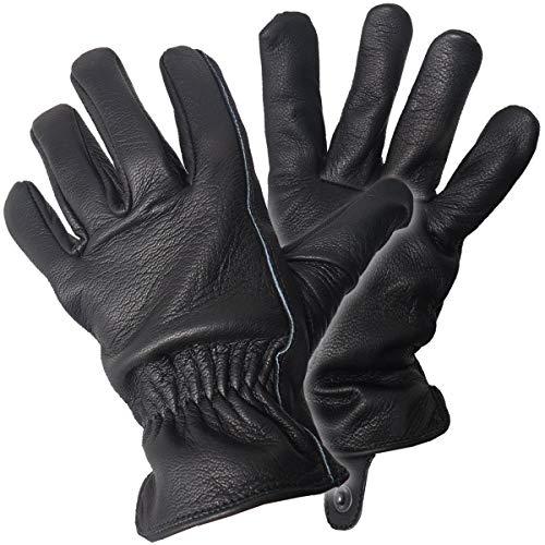 GEAR レザーグローブ(革手袋) ドライバー/ワーク/バイク ディアスキン(鹿革) (M, ブラック)